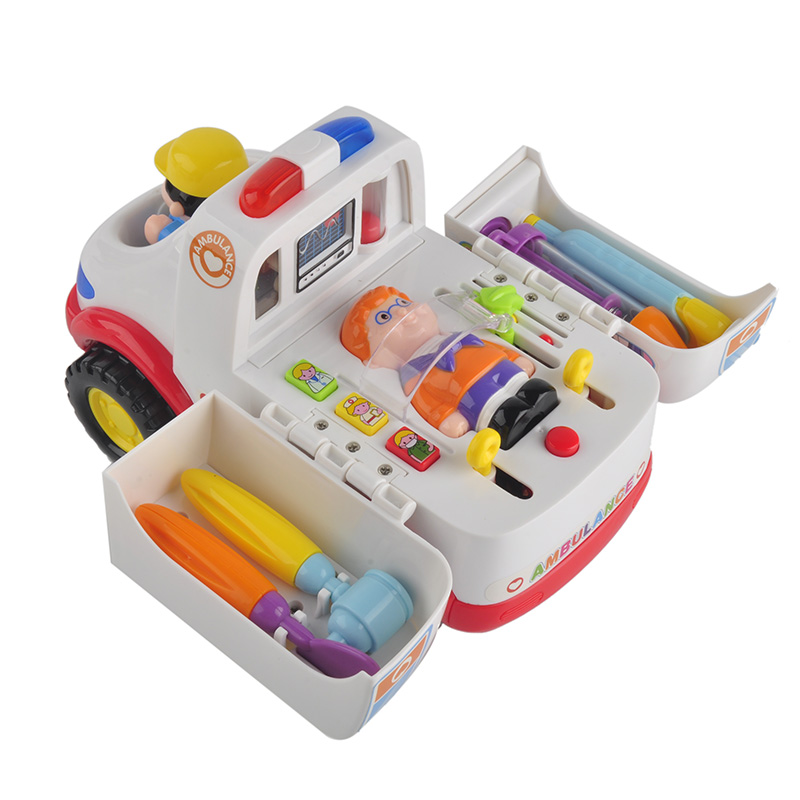 Children Ambulance Doctor Vehicle Set with Lights and Music Plastic Simulation Toys Ambulance Car Electric Pretend