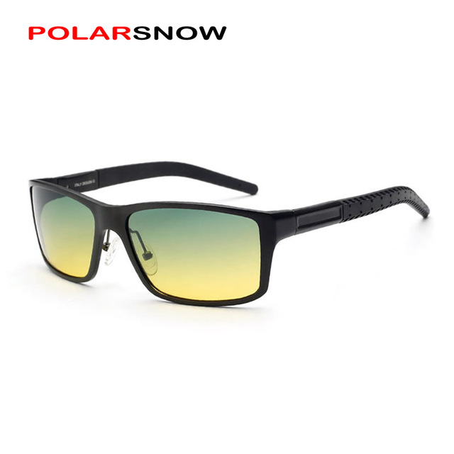 POLARSNOW Polarized Day Night Vision Goggle Glasses 2017 Driving Sunglasses Men Sun Eyewear Top Quality Oculos Masculino
