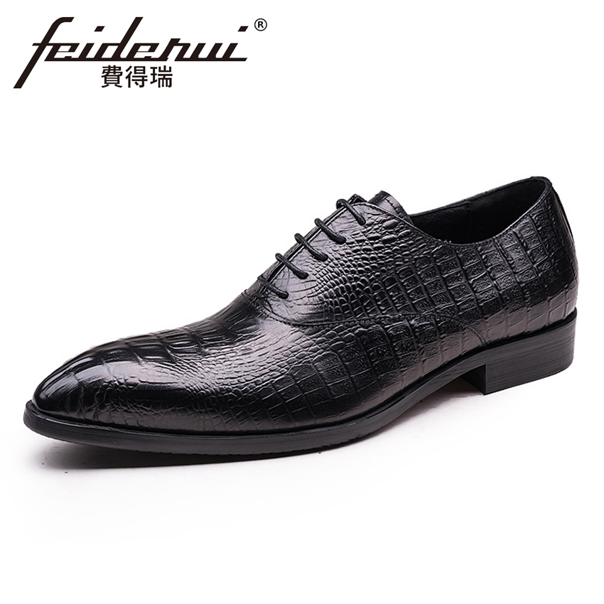 Luxury Alligator Derby Men's Formal Dress Office Footwear Genuine Leather Pointed Toe Lace-up Man Wedding Party Shoes YMX460 new italian designer men s wedding party footwear genuine leather pointed toe lace up derby man luxury formal dress shoes ymx504