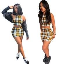 Сексуальные женщины Повседневный из двух частей Холтер Мода Урожай Топ Bralette И Юбка Желтый Плед