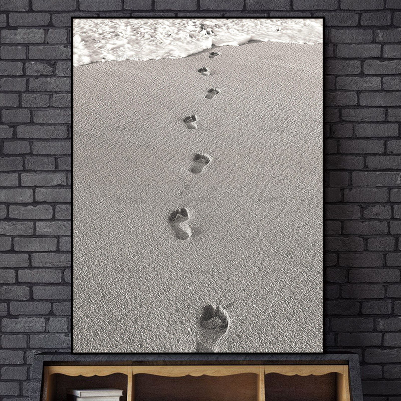 Scandinavian Nordic Beach Footprints Abstrakte Wall Pictures Dagligstue Art Decoration Pictures Canvas Painting Prints Ingen ramme