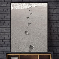 Scandinavian Nordic Beach Footprints Abstract Wall Pictures Living Room Art Decoration Pictures Canvas Painting Prints No Frame