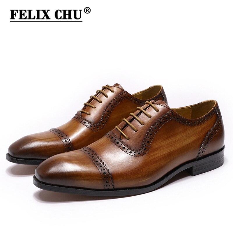 Ayakk.'ten Resmi Ayakkabılar'de FELIX CHU Hakiki Deri Oxford Ayakkabı Erkekler Için Kap Ayak Brogue Düğün Parti Kahverengi Elbise Ayakkabı Mens Iş Ofis Resmi ayakkabı'da  Grup 1