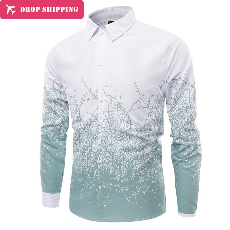 2017 Primavera Marca Camisas Dos Homens de Roupas de Manga Longa Azul  Camisas Casual Roupa Dos Homens Slim Fit Asiático M-4XL 3fcd9c4fd8