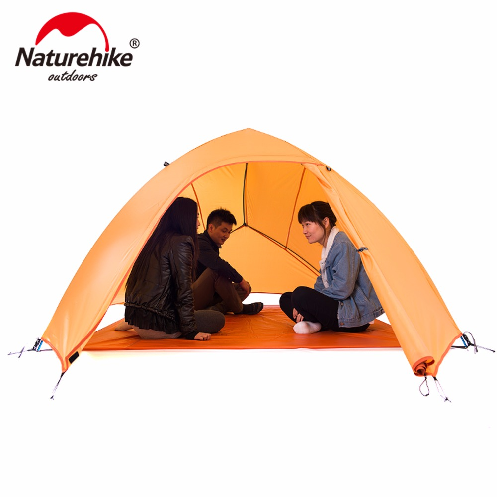 Naturehike Tent 20D Silicone Fabric Ultralight 3 Person Double Layers Aluminum Rod Camping Tent 4 Season With Mat NH15T003-T nh naturehike high quality 2persons classical professional ultra light aluminum pole camping tent with the bottom mat