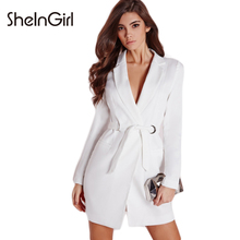 SheInGirl Office Lady Fashion Women Solid White Tunic Polo Collar Dress with Belt Long Sleeve Slim Dress Bodycon Mini Dress