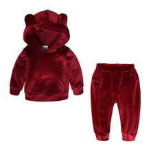 Children Clothing Sets 2019 Spring Autumn Baby Boys Girls Clothes Sets Velvet Coat+Pants 2 Pcs Kids Suits 1 2 3 4 5 6 7 8 Years