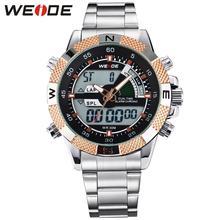 Weide marca hombres deportes relojes del cuarzo de hombre del Relogio Masculino analógico Digital Military Army Diver acero lleno de pulsera