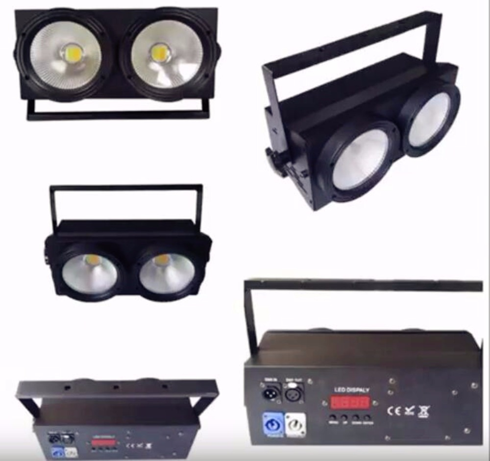 6pcs 200W LED par Dmx stage cob 2x100w warm white cool white warm and cool white 2in1 led audience blinders splicing 2 light led blinders with 100w led cob x2 amber cold white color for audience blinding color warm