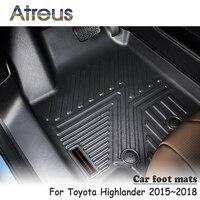Atreus NEW 1Set TPE Car Floor Foot Mat For Toyota Highlander 2015 2016 2017 2018 Car styling Waterproof Carpet Accessories