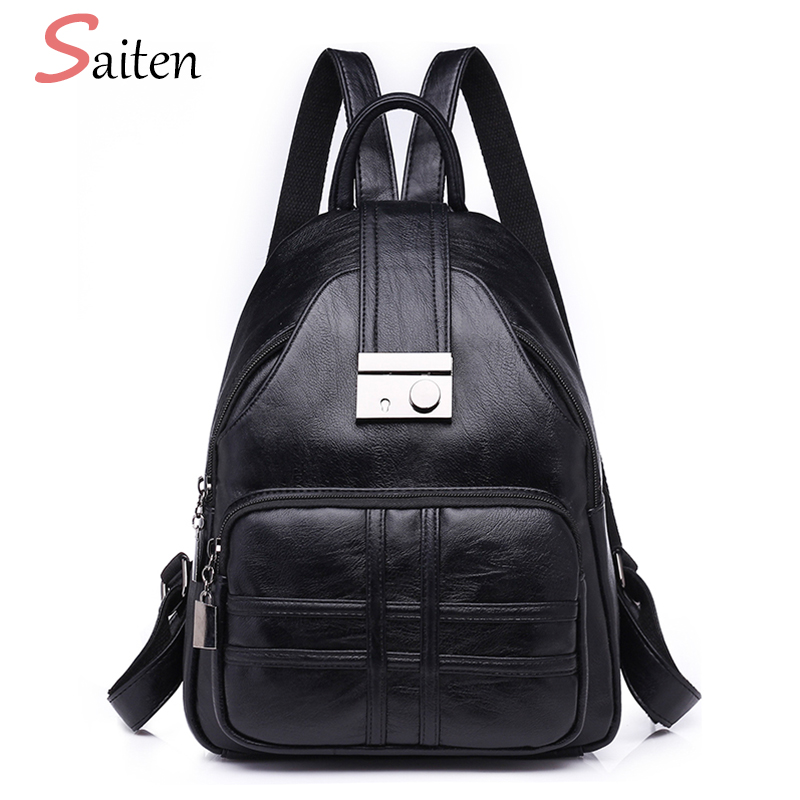 2018 Fashion Anti-theft Backpack Women Black School bags For Teenager Girls High Quality PU Leather Backpacks Female Large Bags high quality pu leather women backpack fashion solid school bags for teenager girls large capacity casual women black backpack l