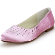 Woman Flats  Shoes Elegant Pink Casual Shoes EP2028 Round Toe Rhinestone Satin Wedding Flats