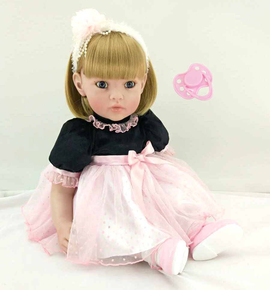 New Silicone Reborn Baby Doll Toys Lifelike Lovely Princess Babies Vinyl Toddler Dolls Birthday Christmas Gifts Girls Brinquedos new 18 american girl doll toys with full vinyl body princess baby toy dolls for girls brinquedos kids birthday christmas gifts