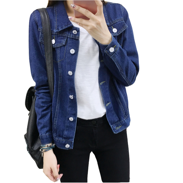 S-XXL 2017 New Women Bomber Denim Jacket Vintage Harajuku Loose Jeans Jackets Female Korean Style Coat Casual Outwear Plus Size