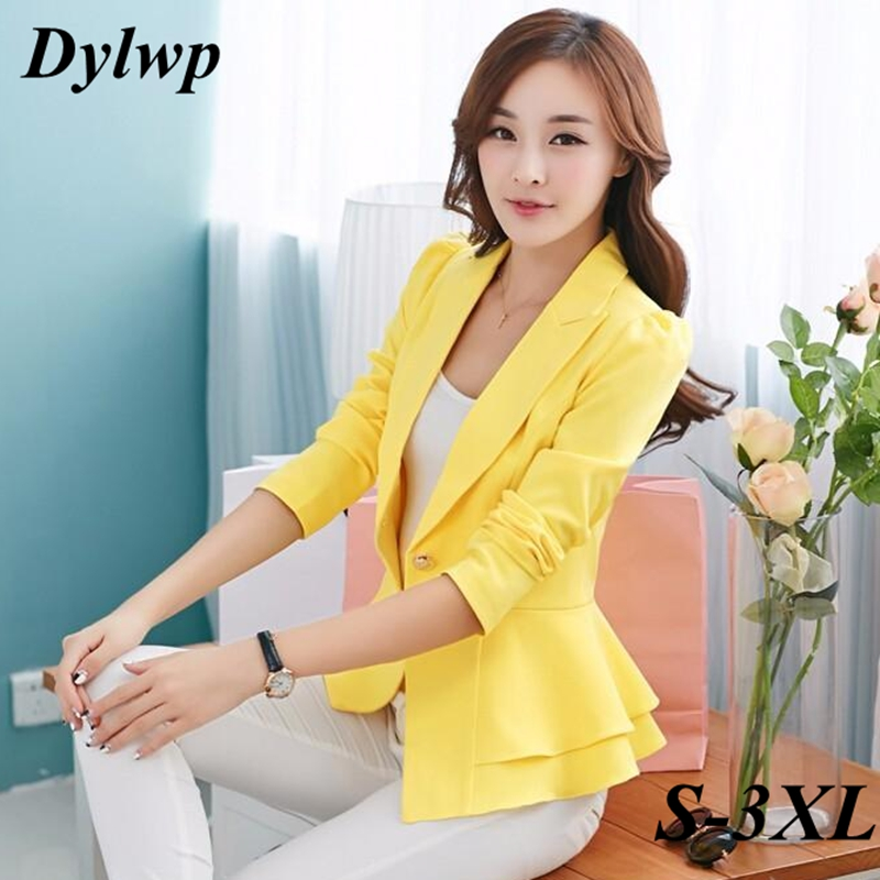 Ladies Gold Button Blazer Spring Autumn Plus Size 3XL Ruffle Slim Jackets Women Fashion Black Yellow White Single Buckle Suits