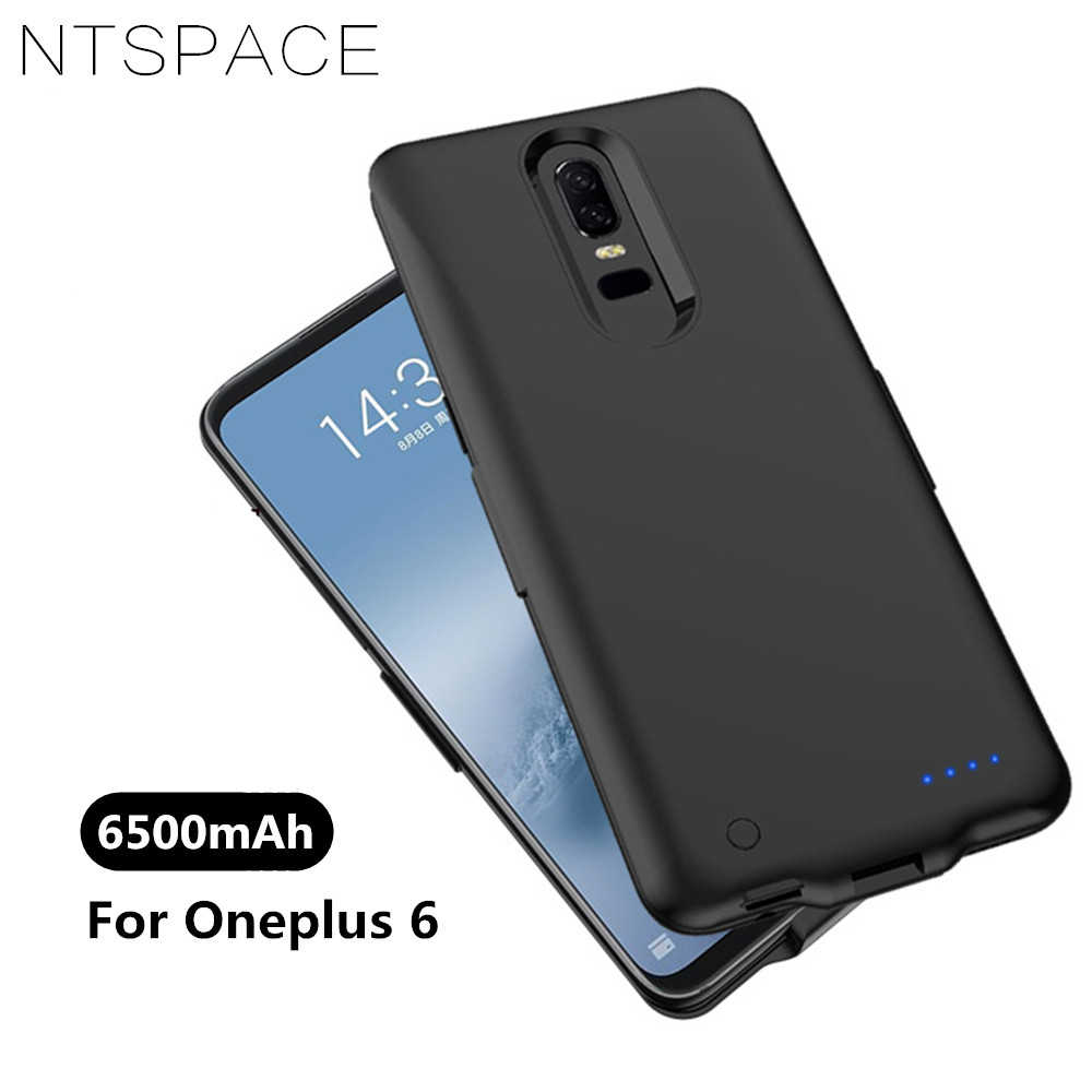 best service 2af94 437e0 NTSPACE 6500mAh External Battery Charger Case For Oneplus 6 Battery Cover  Portable Power Bank Shockproof Charging Back Cover