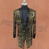 Мужские блёстки воротник с лацканами Bling Leopard цвета длинный костюм Блейзер Военная Униформа бар пальто платье торжественное платье Шоу DJ