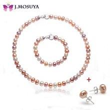 J. MOSUYA 8-9mm Perla Natural De La Joyería Para Las Mujeres Regalo de Navidad, Color Perlas de Agua Dulce Conjunto
