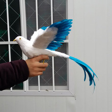 new simulation Phoenix Bird toy plastic & furs white&blue wings long tail bird gift about 25cm