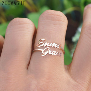 Double Name Ring Custom Two Name Rings Personalized Baby Names Couples Names on Ring New Mom Gift Mother Daughter Family Ring(China)