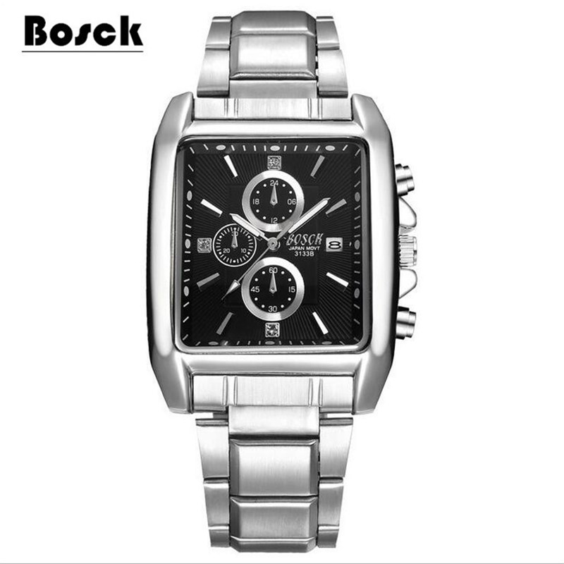 BOSCK Brand Military Quartz Sport Mens Watch Square Stainless Steel Strap Watches Casual Wristwatch Full Steel