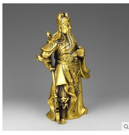 A copper font b knife b font bronze statue of Guan Gong Wu God of wealth