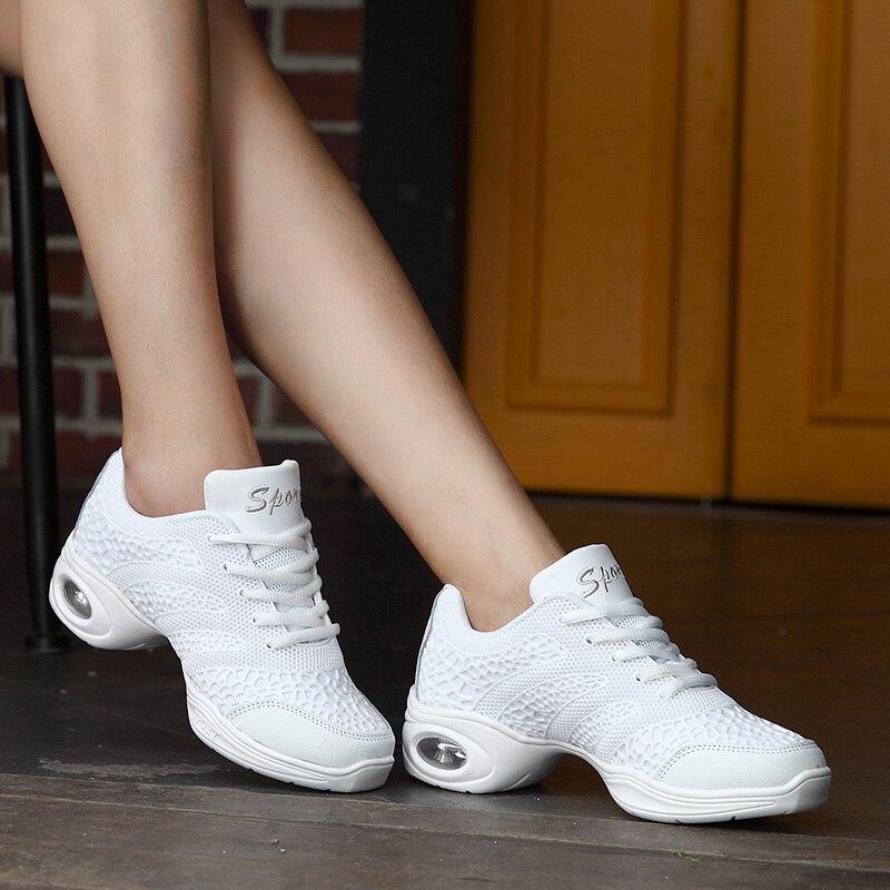 Παπούτσια τετράγωνου χορού Ανδρικά πάνινα παπούτσια μαλακά δερμάτινα μάτια δέρματος αερισμού αέρος σύγχρονα παπούτσια χορού Γυναικεία αθλητικά παπούτσια χορού