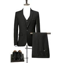 2017 Men Slim Fit Suits men's Wedding Suits With Pants Business Mens Formal Wear High quality casual suits(Jacket+Vest+Pants)