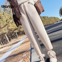 SWYIVY Women Pants Hip Hop Woolen Warm 2018 New Winter Female High Waist Harem Pant Large Size XXL Ankle Length Slim Trousers
