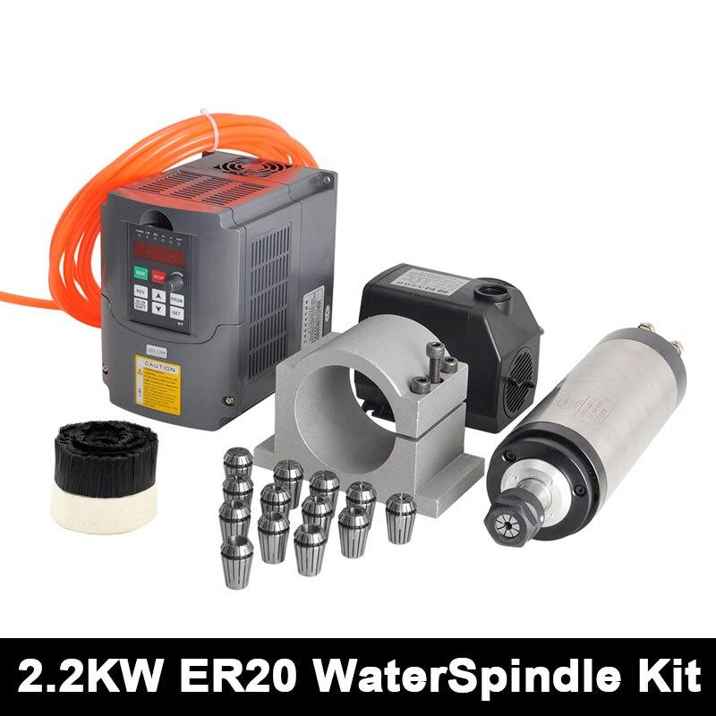 CNC Spindle Motor 2.2KW ER20 Spindle Router Kit + 220v Inverter +80mm Clamp +75w water Pump +5m Pipe + ER20 Collet + 70MM Brush er20 diameter 80mm 220v 24000rpm 2 2kw water cooling spindle water pump water pipe spindle support bits
