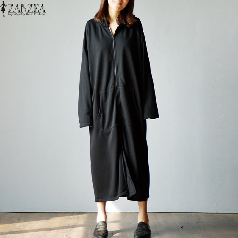 Plus Size 2018 Autumn ZANZEA Sweatshirt Women Oversized Hoodies Coat Jacket Pockets Long Sleeve Hooded Dress Zipper Vestido