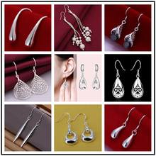 Factory price wholesale Drop 925 stamped silver plated ladies women earrings high quality jewelry Nickle Free shipping