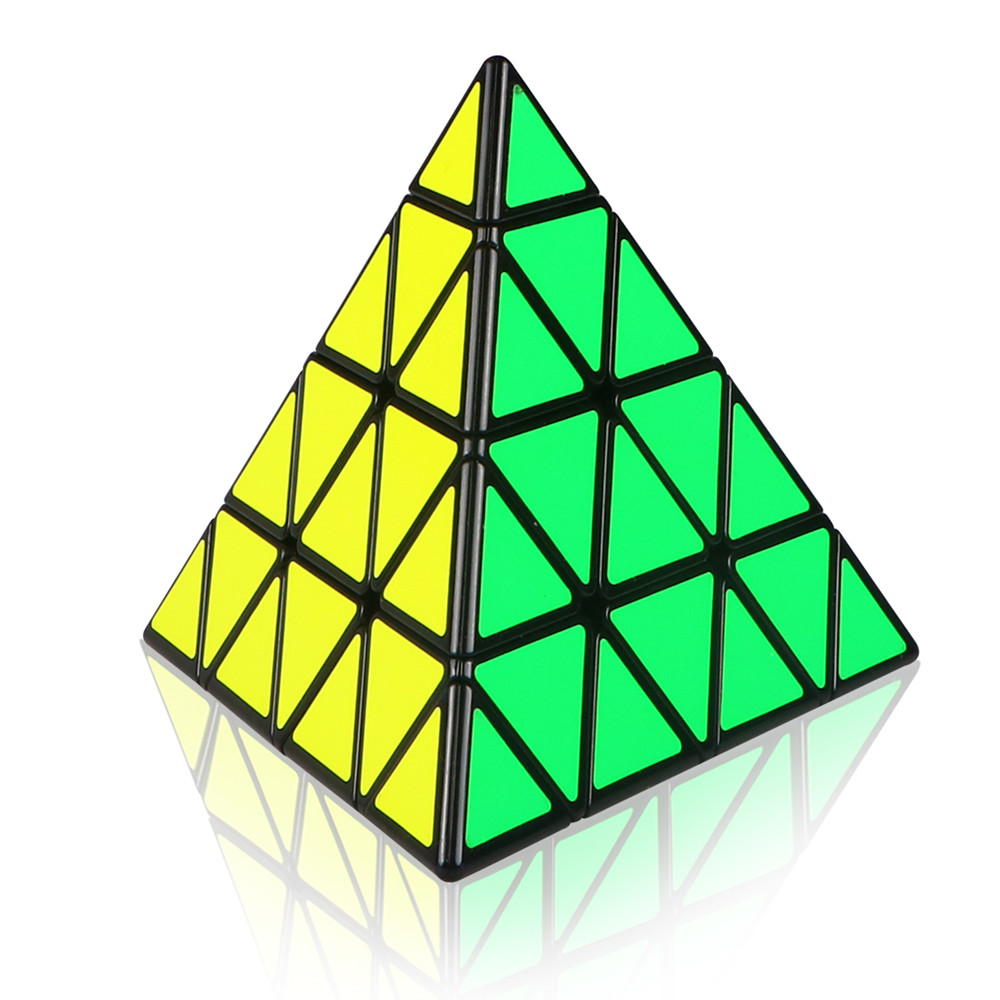 Mofangge 4x4x4 Pyramid Cube Black/Stickerless Magic Cube KiloPyramid Cube 4x4 Puzzle Pyramid Cube Special Toys For Children