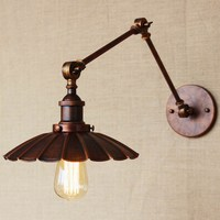 Industrial Portuguese Style Antique Rust Wall Lamp Swing Arm Wall Lighting For Workroom Bathroom Vanity 2
