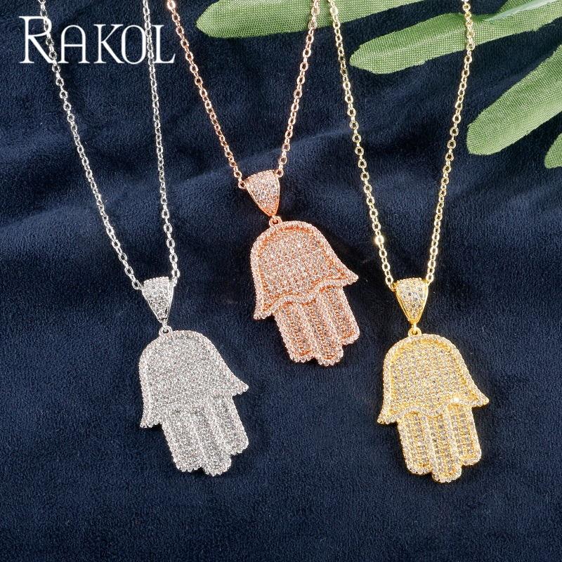 RAKOL Luxury Personality AAA Cubic Zircon Palm Shape Necklaces For Elegant Women Dress Accessories Jewelry RN20366
