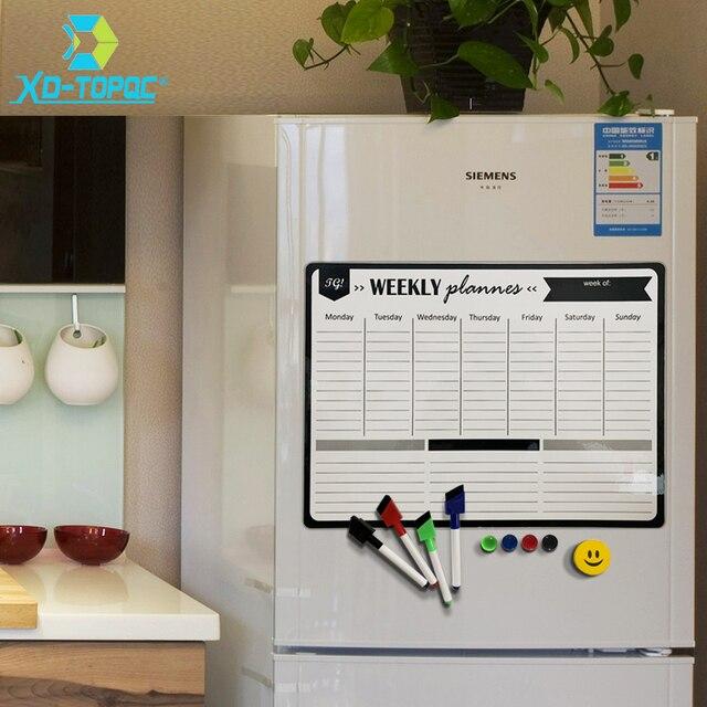 A3 magnétique hebdomadaire et mensuel planificateur tableau blanc réfrigérateur aimant Flexible quotidien Message dessin réfrigérateur Bulletin tableau blanc