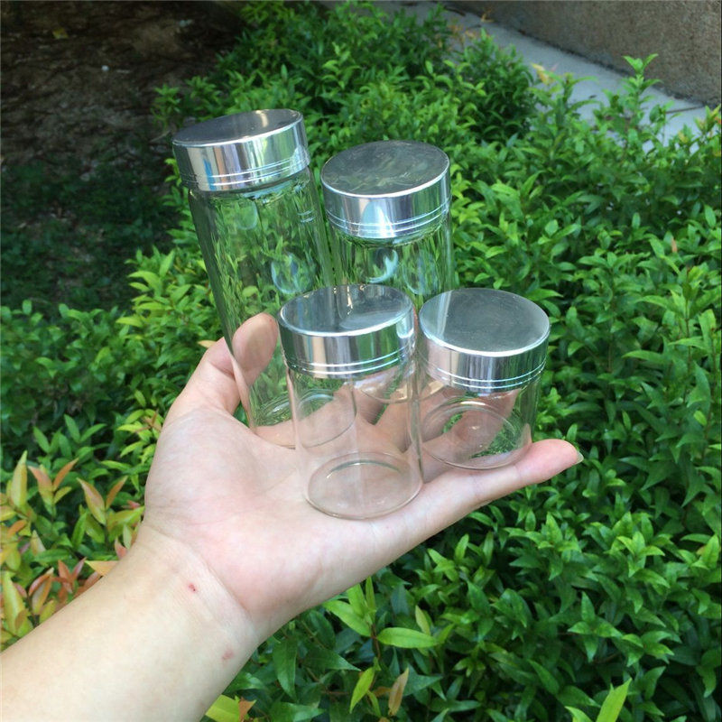 50ml 80ml 100ml 150ml Large Glass Bottles with Silver Screw Caps Empty Spice Bottles Jars Gift Crafts Vials3