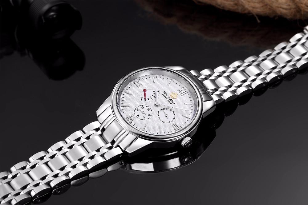 MG.ORKINA Men Clock Stainless Steel Band Japan Movement Day Date Male Analog Quartz Watch Chronograph Horloges Mannen Waterproof