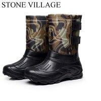 Bottomed Non Slip Waterproof Snow Boots Plus Velvet Light Fishing Boots Men Rain Boots High