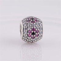 Fits Pandora Charms Bracelet 925 Silver Charms Cherry Blossom Pave Beads With Zirconia Women DIY Jewelry