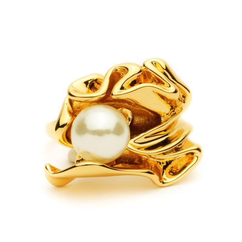 HUANZHI Imitation Pearls Personality Fold Geometric Gold Color Metal Irregular Finger Rings for Women Girls Party Jewelry Gifts
