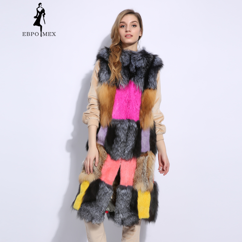 Winter New Design Fur Slim Long Vest 8525