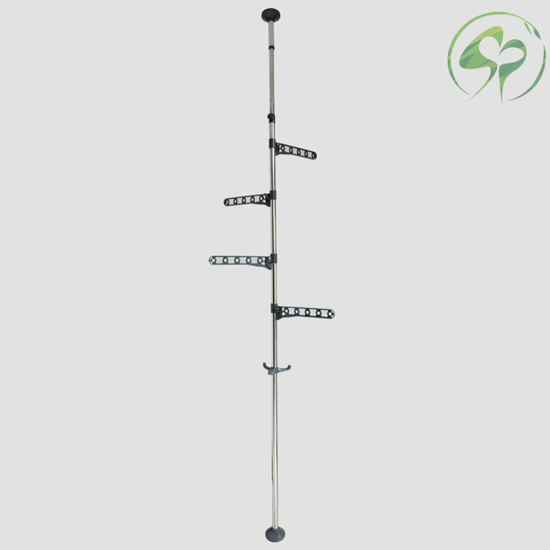 Image 3 - Floor to Ceiling Coat Rack Clothes Drying with Standing Type Clothing Hanger Free Standing With 4 Hooks Wood Tree Coat Rack-in Coat Racks from Furniture