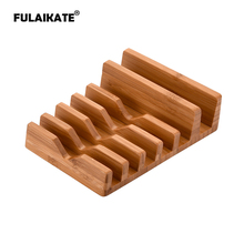 FULAIKATE Bamboo Wood Charging Stand for iPhone 6 in 1 Desk Holder iPad mini All Tablet PC Mobile Phone
