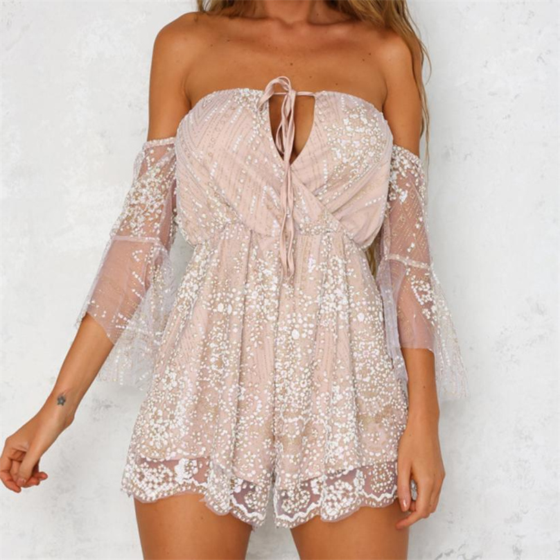 2017 Summer Playsuits Womens Jumpsuit Sexy DeepV-Neck Halter 3/4 Sleeve Ruffled Vintage Sequins Beach Bodysuit Casual MY24