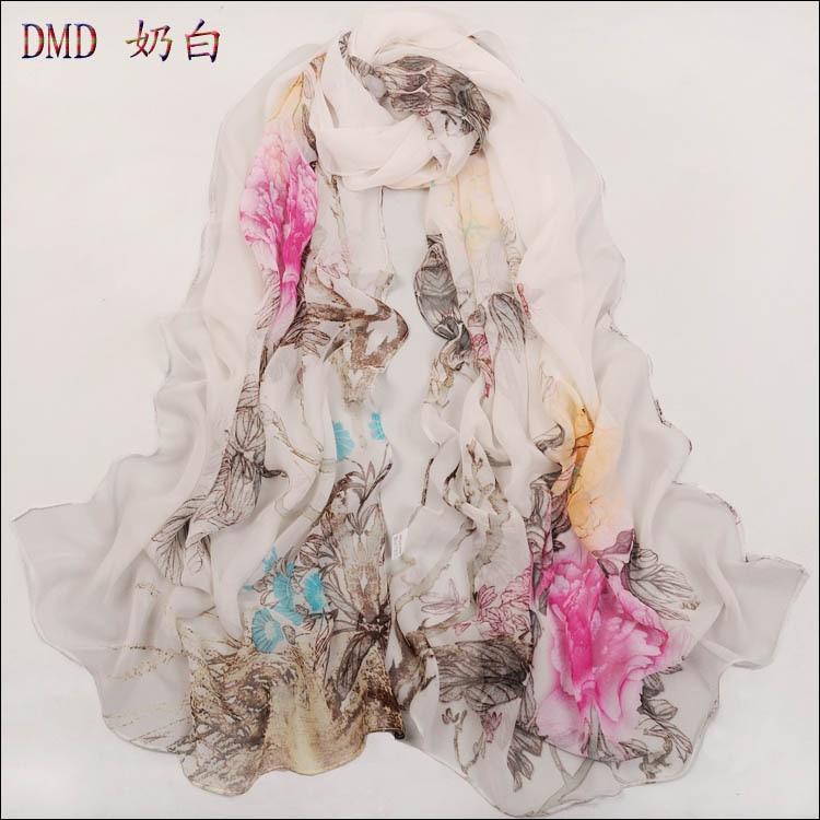 new 2015 Spring colorful flower chiffon silk scarf women Long flowers pattern print scarves shawl Wholesale