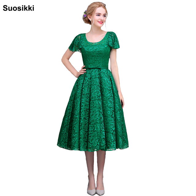 Lace tea length Evening Dress 2017 Cheap Green Prom Dresses Robe De ...