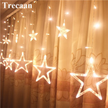 Trecaan LED-raamgordijn lichten Stare 2.5M 12 Star String Fariy Lights 8 modi Xmas Home Holiday Party bruiloft Decoratie