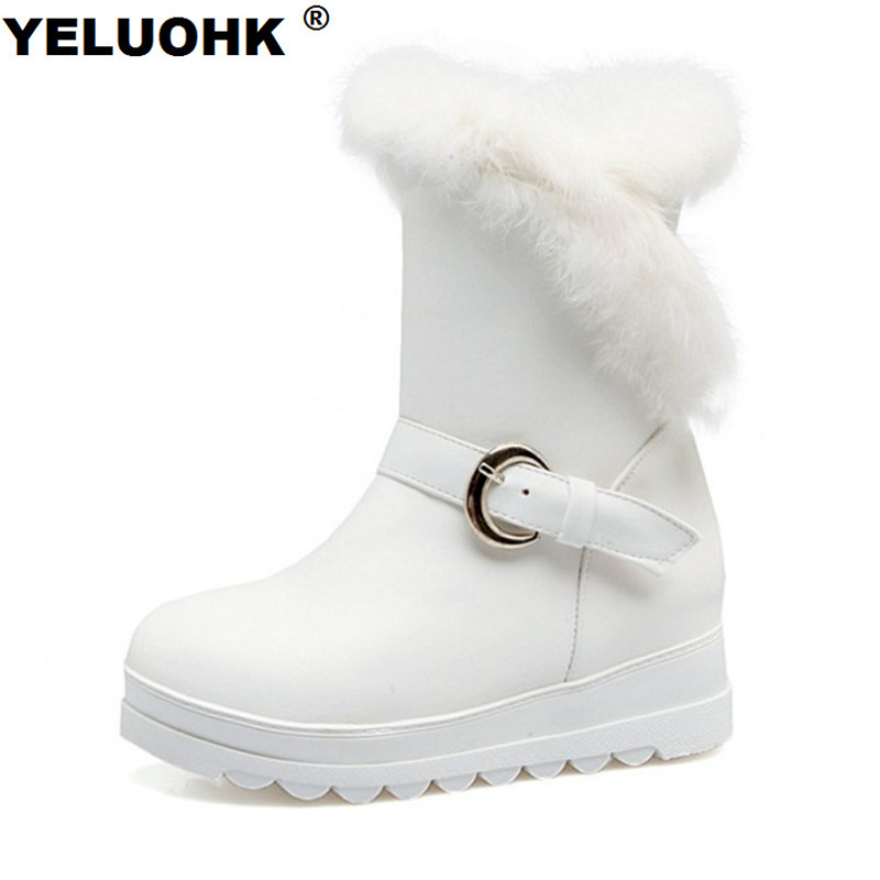 Large Size 43 Waterproof Snow Boots Women Shoes Plush High Boots Female Winter Shoes Warm Casual High Boots Winter Women Leather
