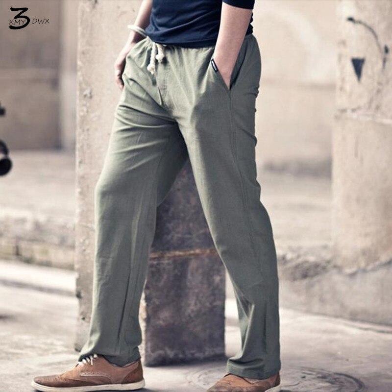 XMY3DWX férfi pamut és ágynemű tavaszi nadrág férfi vászon vékony modell / Férfi rugalmas derék laza kényelmes haroun nadrág